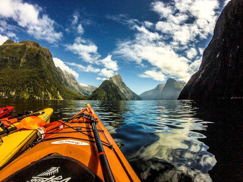 Kayaking at Milford Sound | Photo by Tiffany Young, University of Hartford, studied at University of Otago