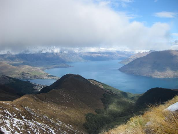 Not even the clouds could damper the view of Queenstown from the mountains.