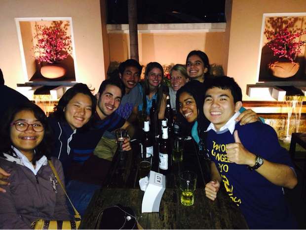 Some of the Thai-mates and TEAN students at a trendy bar on Nimman.