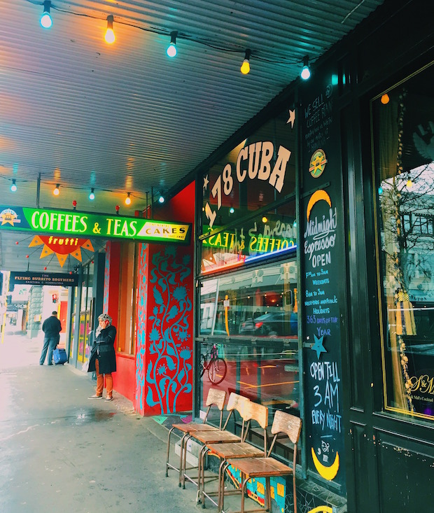 Midnight Espresso, a café located on Cuba Street, is still bright and lively on a rainy Wednesday morning.