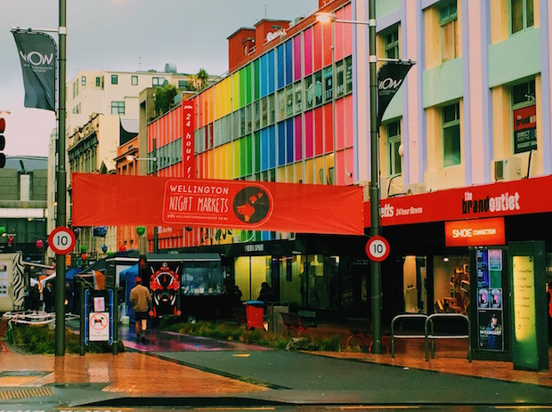 The entrance to the Saturday night market, conveniently located at the end of Cuba street.
