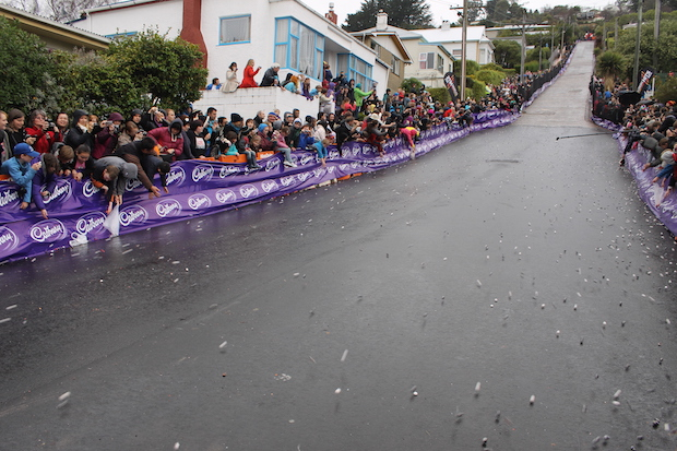 25,000 candies rolling down Baldwin Street as part of the Cadbury Festival. Photo by Michelle Kozminski who studied abroad in Dunedin.