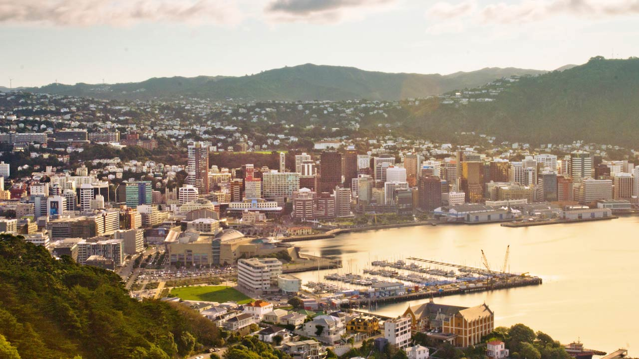 Yellow tinted view of Wellington city
