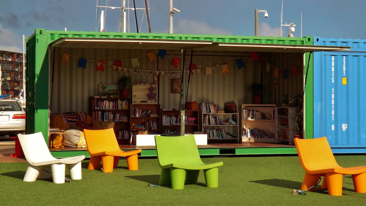A storage container turned to funky outdoor library in Auckland, New Zealand