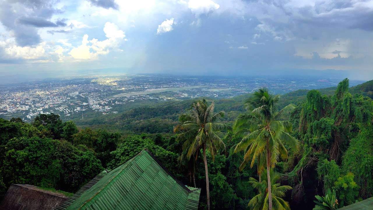 Clear view of mountains and Chiang Mai from the overlook at Wat Doi Sutehp in Chiang Mai