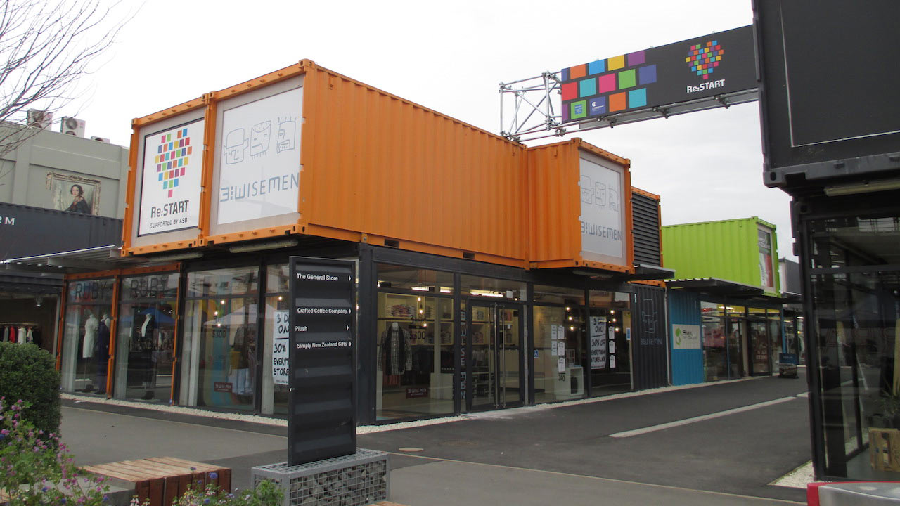 A funky mall built out of shipping containers in Christchurch, New Zealand