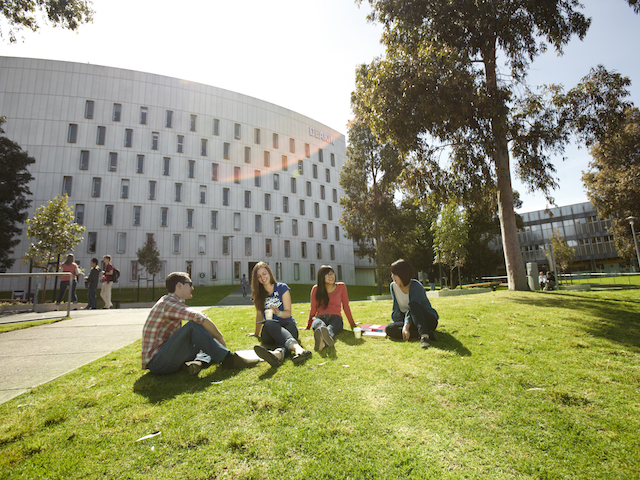 Four students sit on a patch of grass in front of a building on Deakin's campus