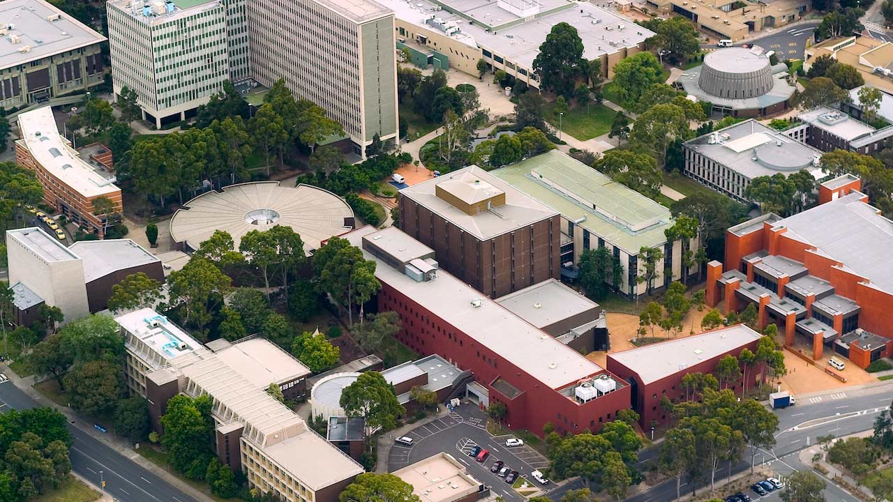 An aerial view of Monash Clayton's campus with an assortment of buildings and greenery