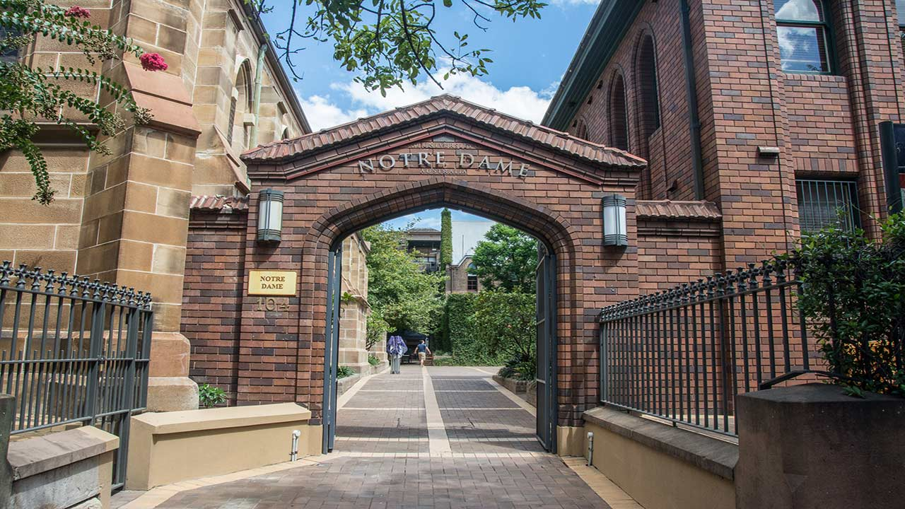 The brick entrance way at the University of Notre Dame Sydney