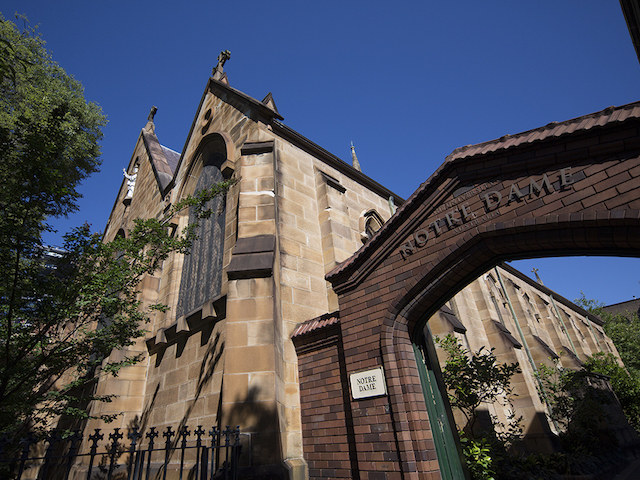 The church and entranceway at the University of Notre Dame in Sydney