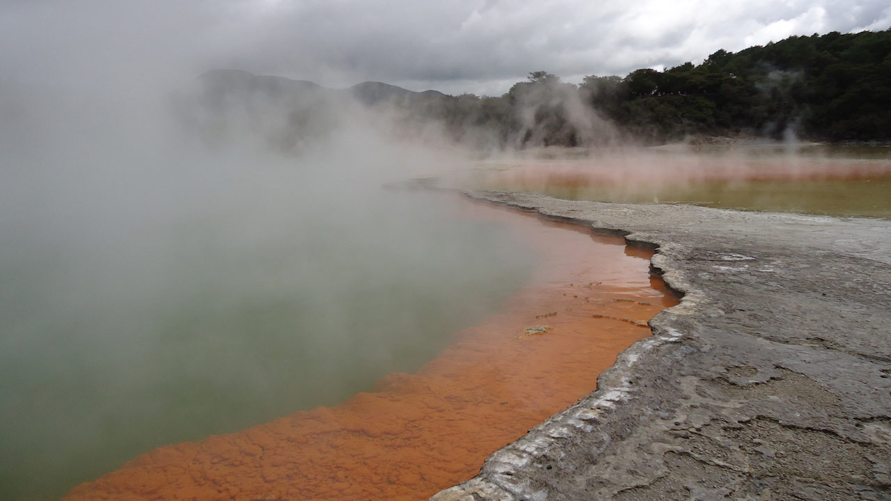 Mist billows from natural pool in Palmerston North, New Zealand