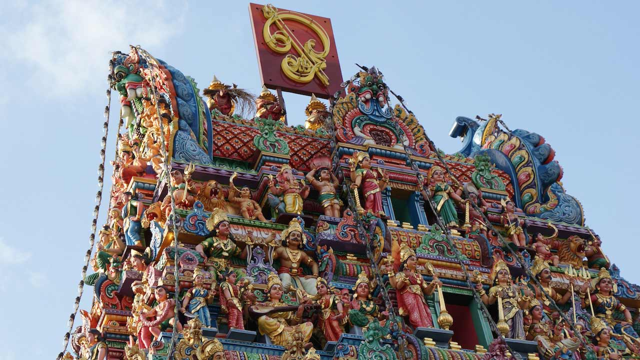 Intricate design of a Hindu temple in Singapore