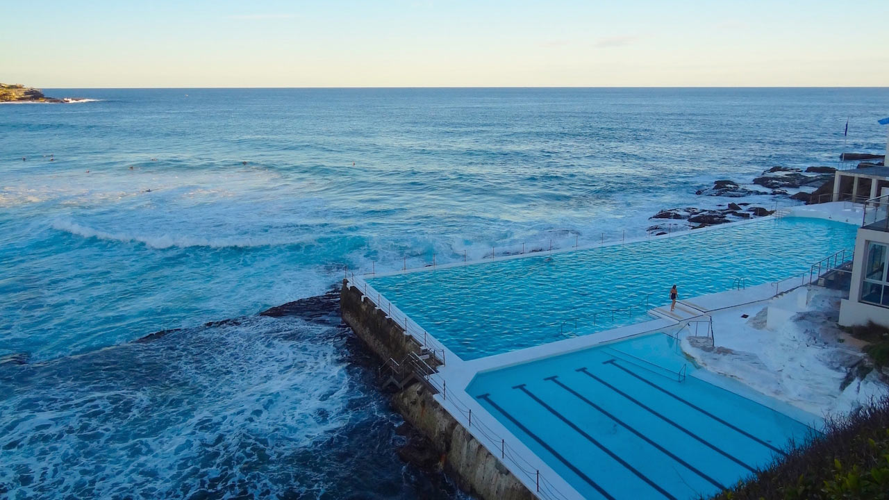 The infamous Bondi Icebergs Pool that juts into the ocean in Sydney, Australia