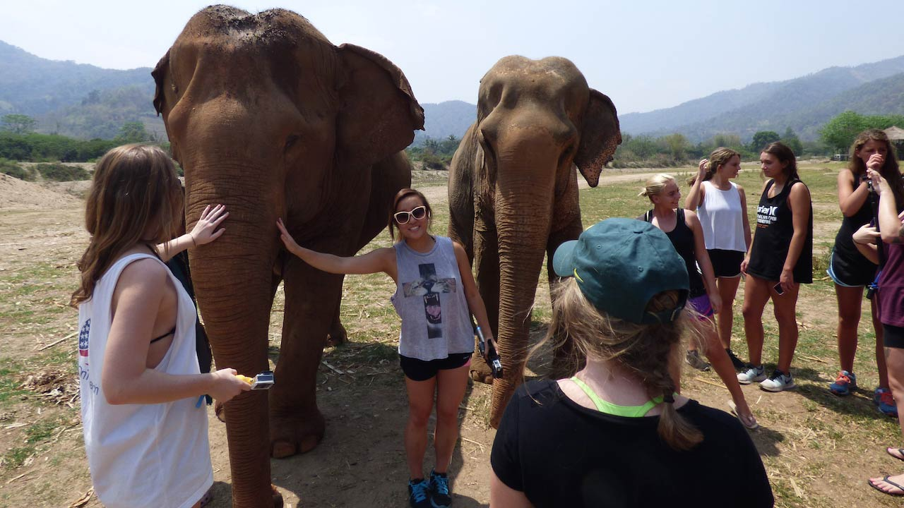 Students pose to take photos with elephants at Elephant Nature Park in Chiang Mai, Thailand