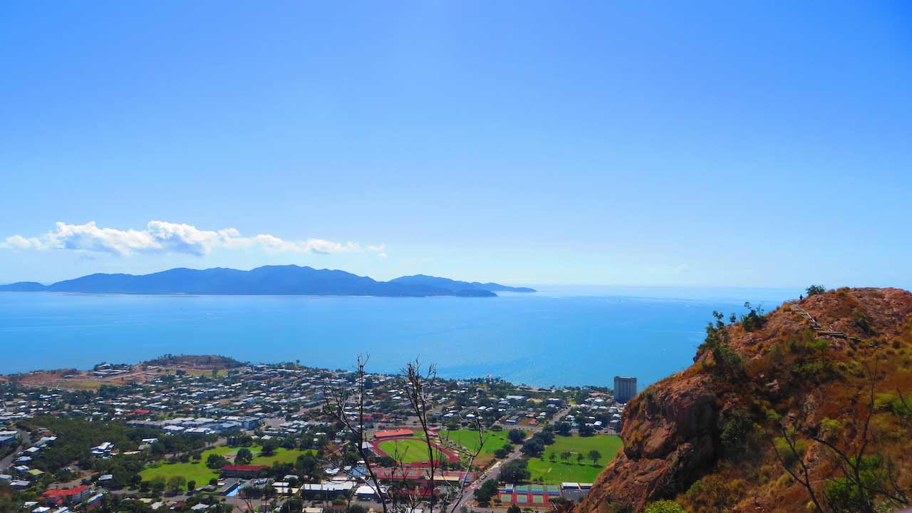 An aerial view of Townsville from the city's mountaintop