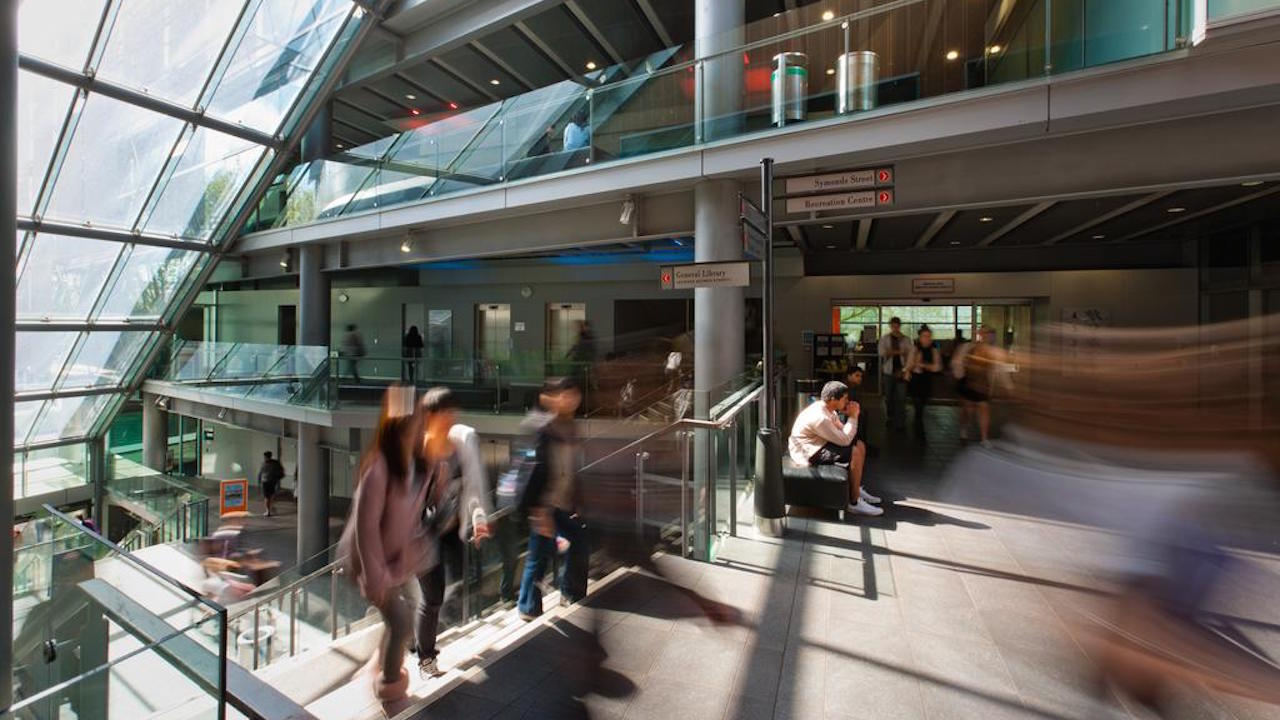 Students in the Kate Edger Centre, slow motion blu... Students in the Kate Edger Centre, slow motion blur, for The University of Auckland 2012 prospectus, Wednesday 29 September 2010. Photo: Stephen Barker/Barker Photography.  ©The University of Auckland.