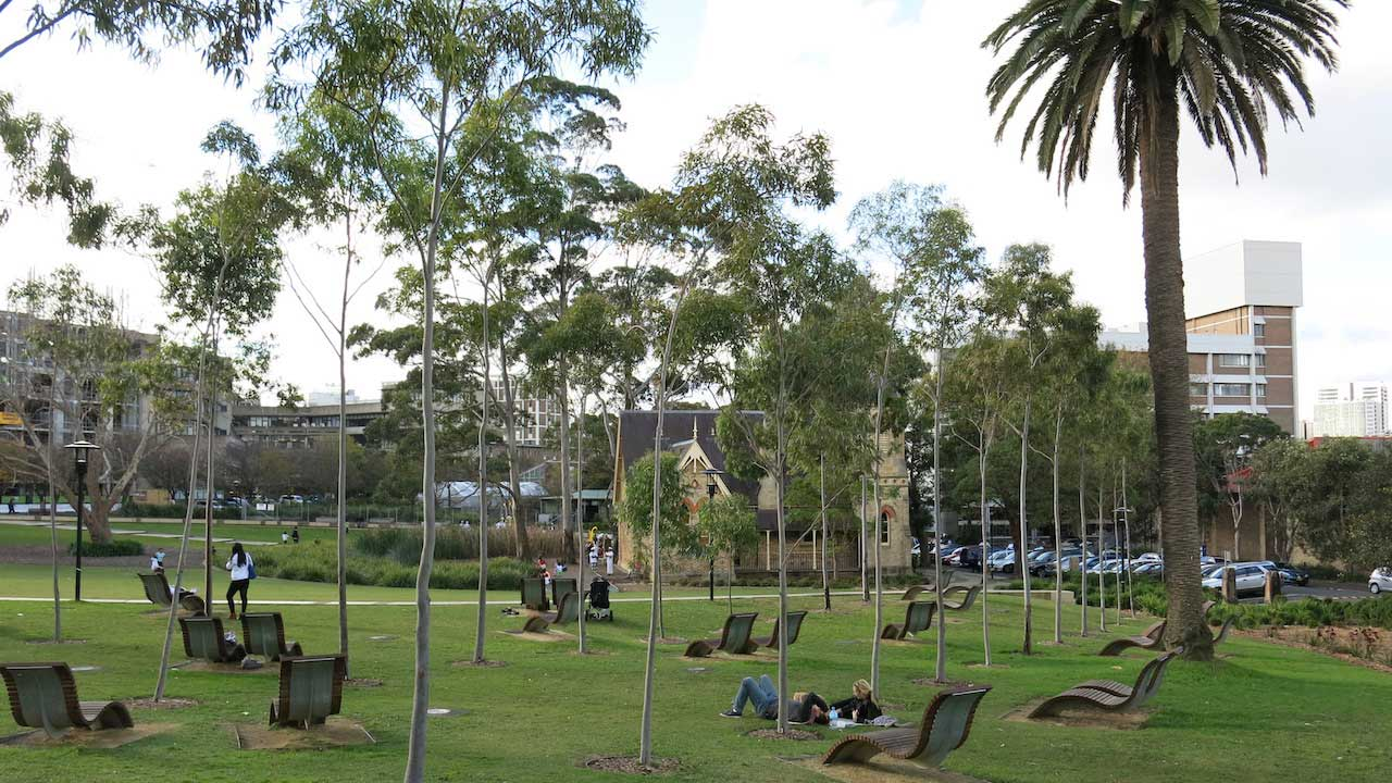 People lay on lawn chairs strewn about a grassy quad on University of Sydney's campus