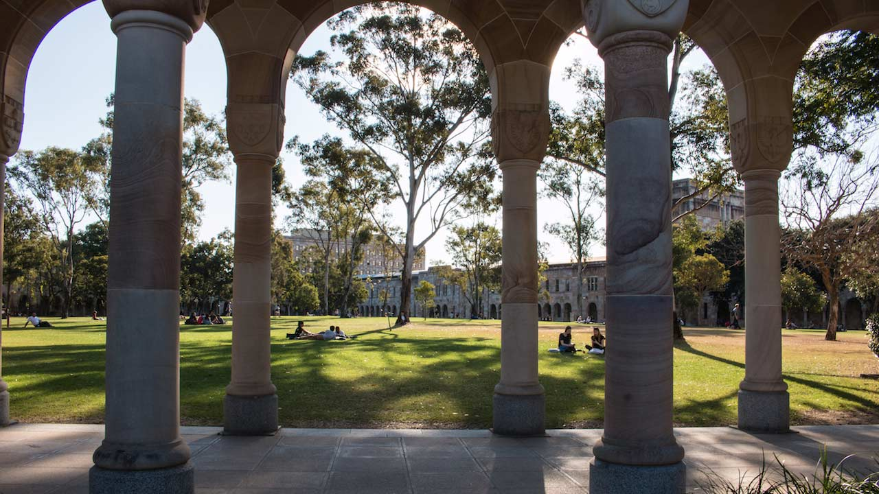 Shadows between the trees fall on UQ's lawn and colosseum walkway