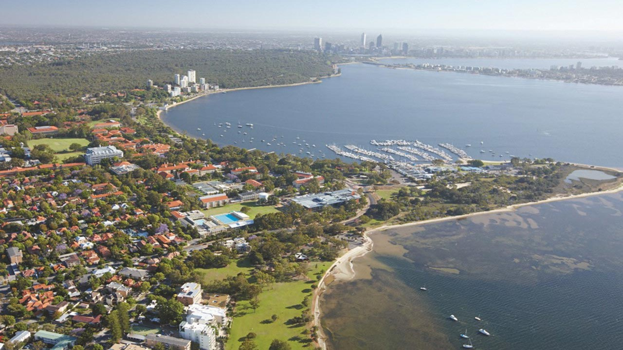 An aerial view of Perth, Australia, both sprawling city and waterfront