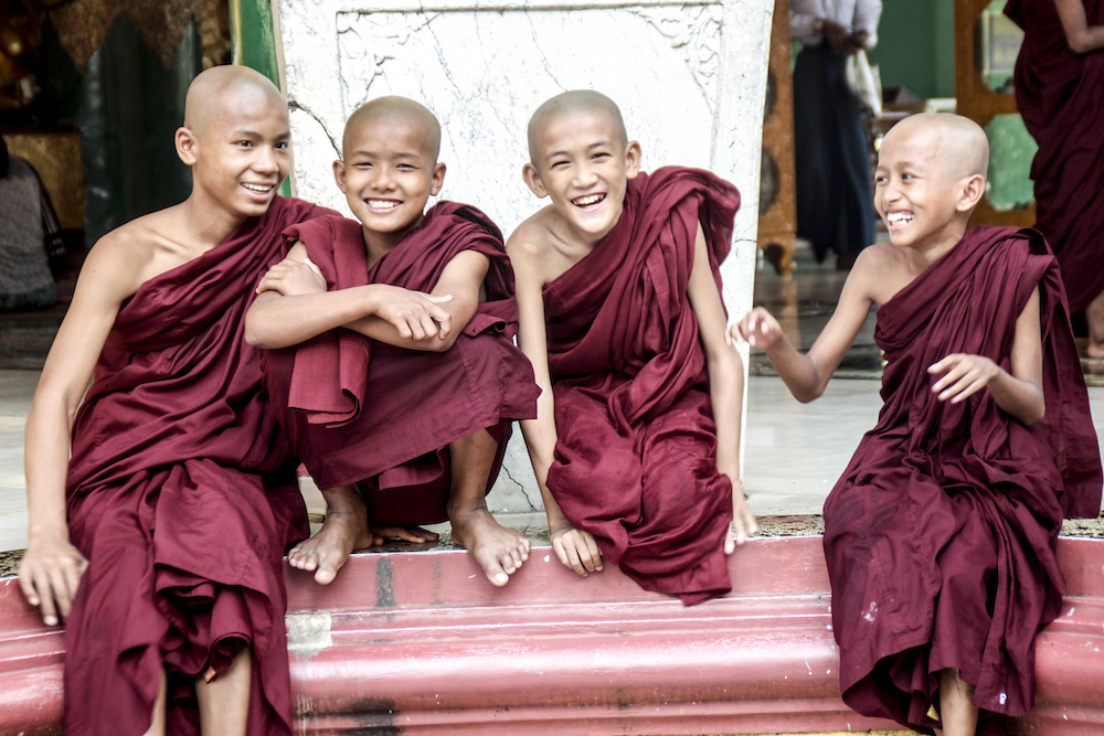 Novice monks at the Shwedegon Pagoda, Myanmar
