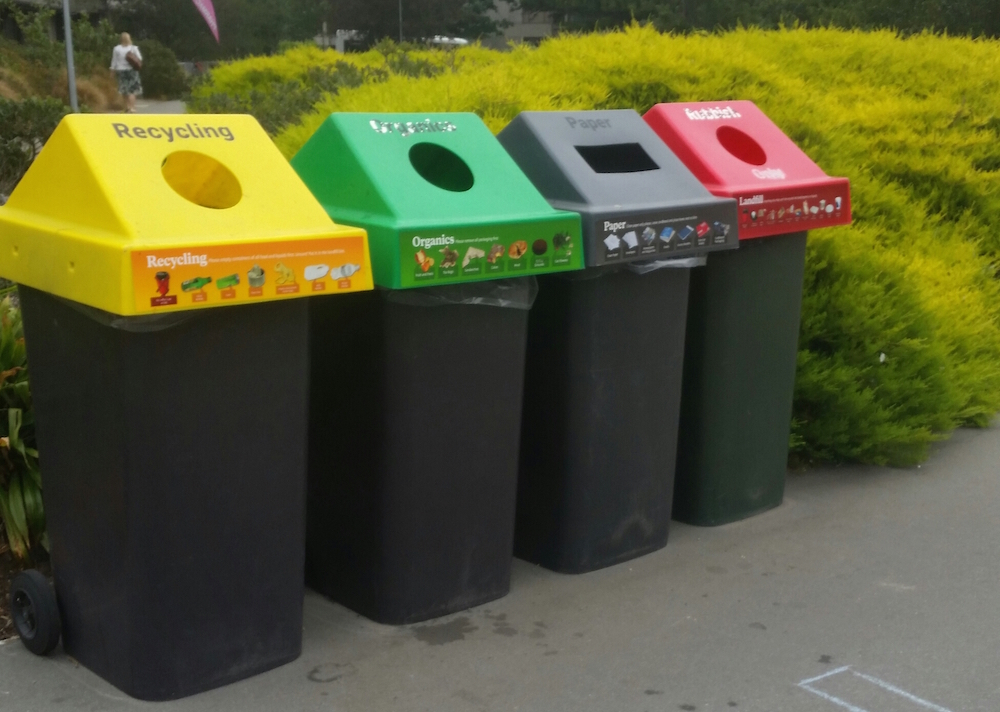 Recycling bins on campus