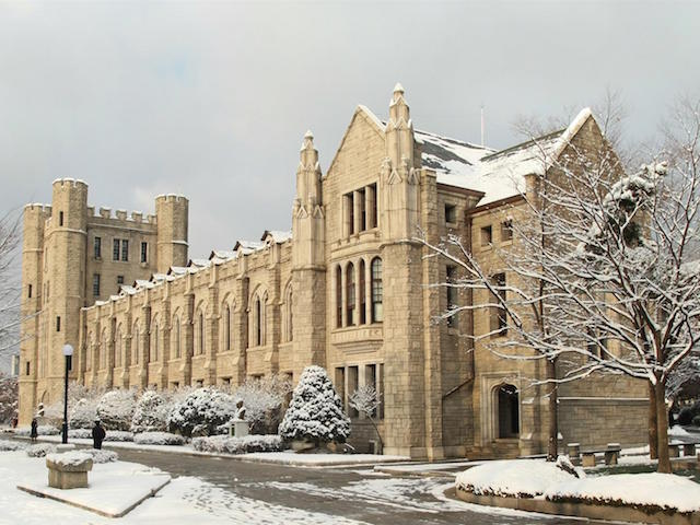 The main hall at Korea University dusted in snow