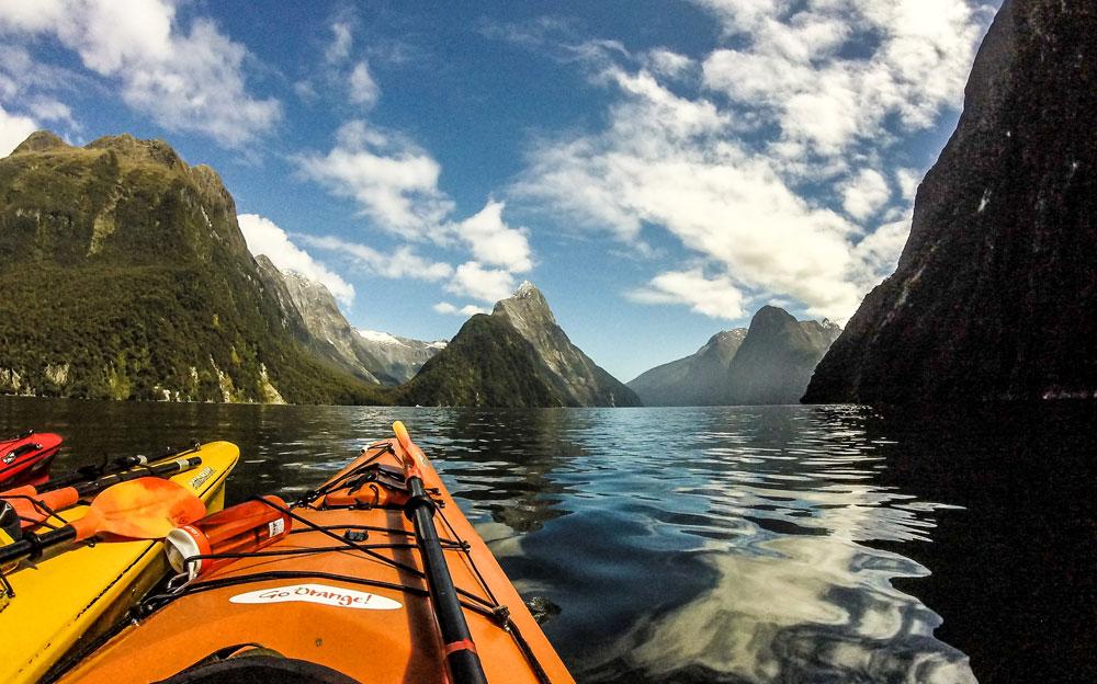 Kayaking Milford Sound, New Zealand