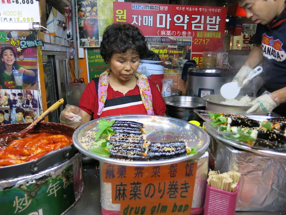 Trying popular Korean street foods at the Gwangjang Market