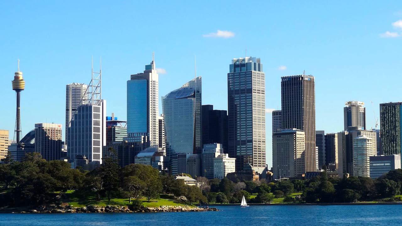 Blue sky cityscape of Sydney, Australia
