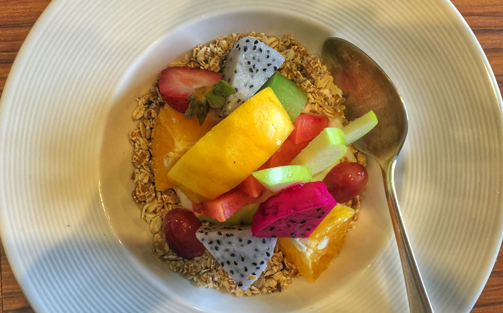 Muesli with fresh fruit (yoghurt not in picture served on the side) at The Larder in Chiang Mai