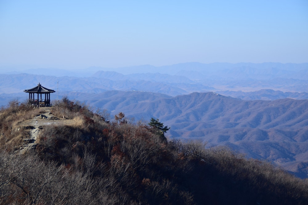 Beautiful view of the mountains while hiking Godaesan in Seoul