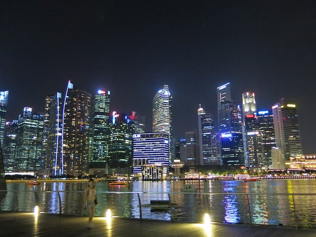 An illuminated Singapore skyline reflected in the harbor