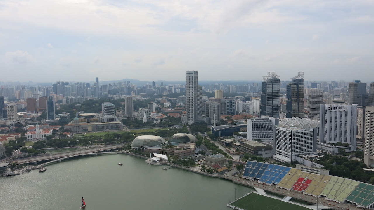 Singapore skyline and harbour on a cloudy day
