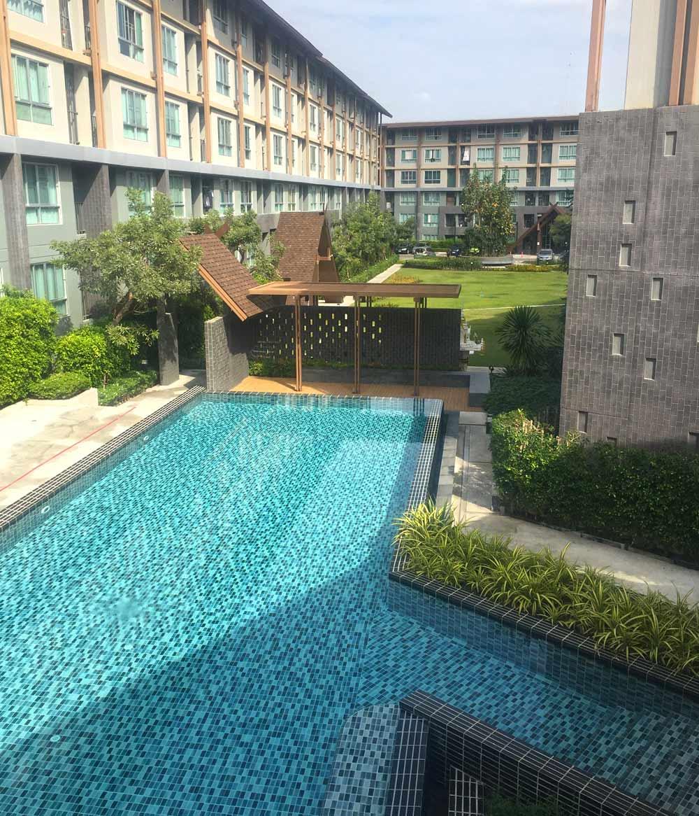 Pool area at Chiang Mai condo complex