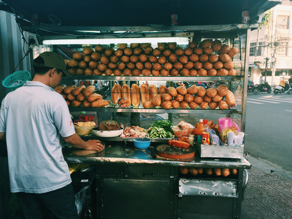 Banh mi food stall in Vietnam