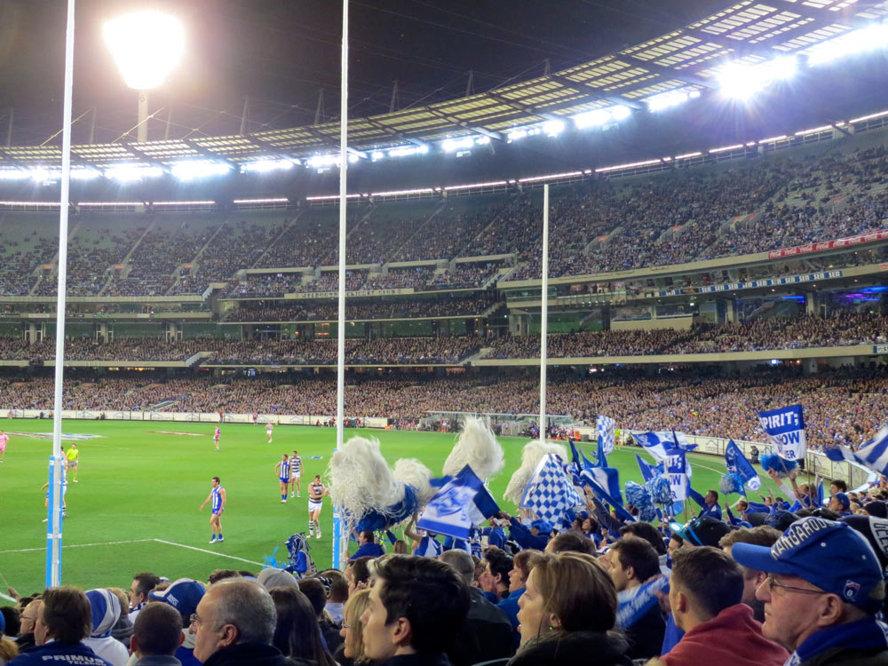 Crowds at an AFL game in Melbourne