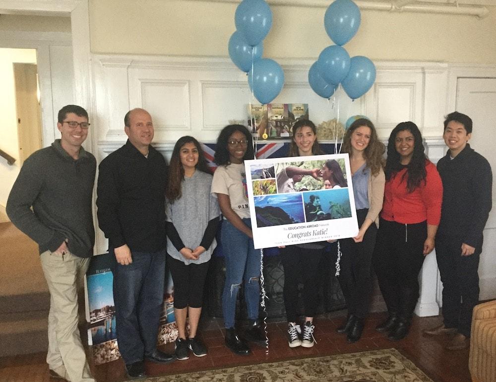University of Rhode Island study abroad office team surprises Katie