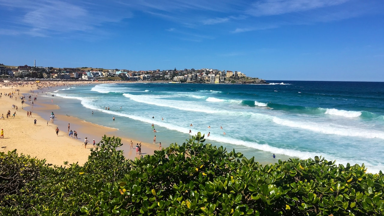 Coogee Beach on a sunny day in Sydney