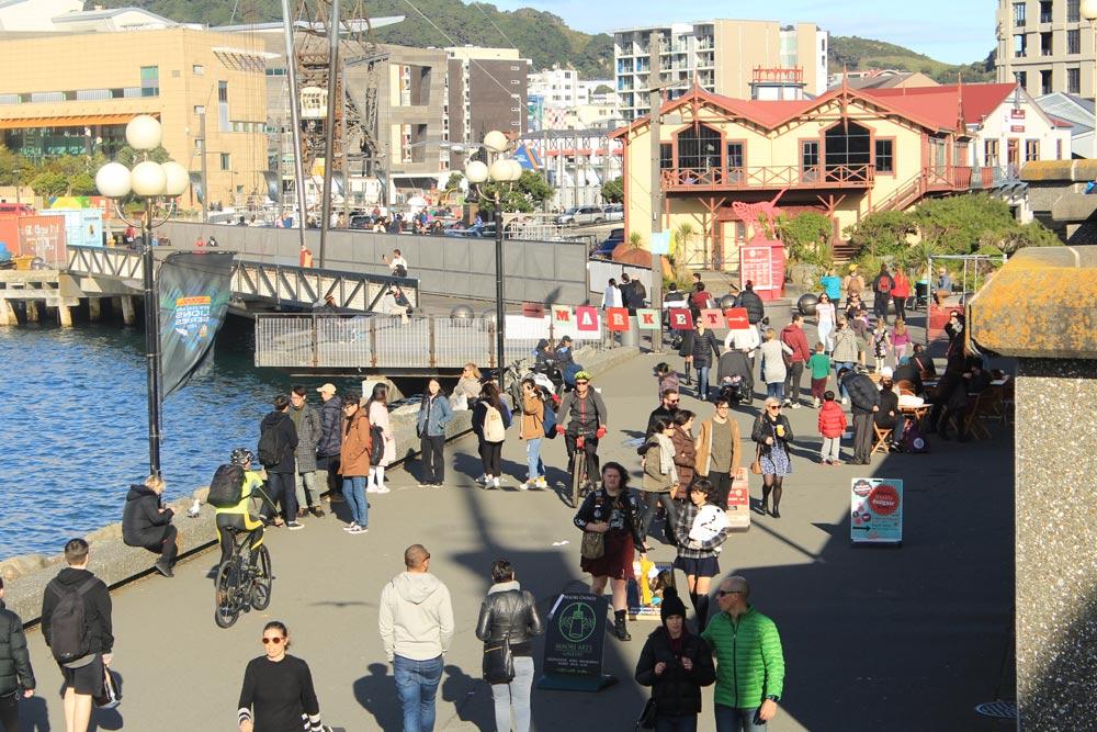 Wellington waterfront on a weekend