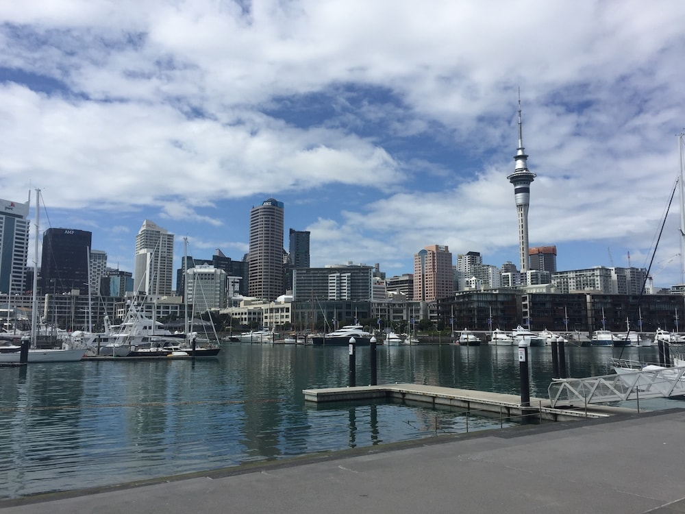 Looking back at Auckland City from Wynyard Quarter
