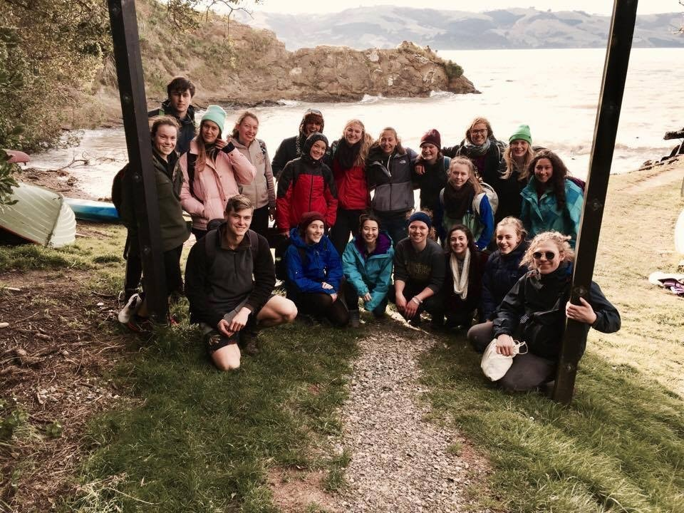 Group shot of students from The Otago University Animals, Aquatic, Plants, Ecological Society on Quarantine Island
