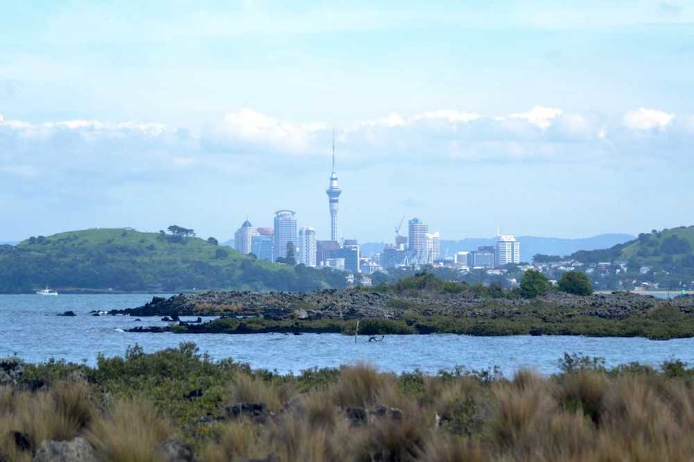 View of Auckland skyline from Rangitoto Island