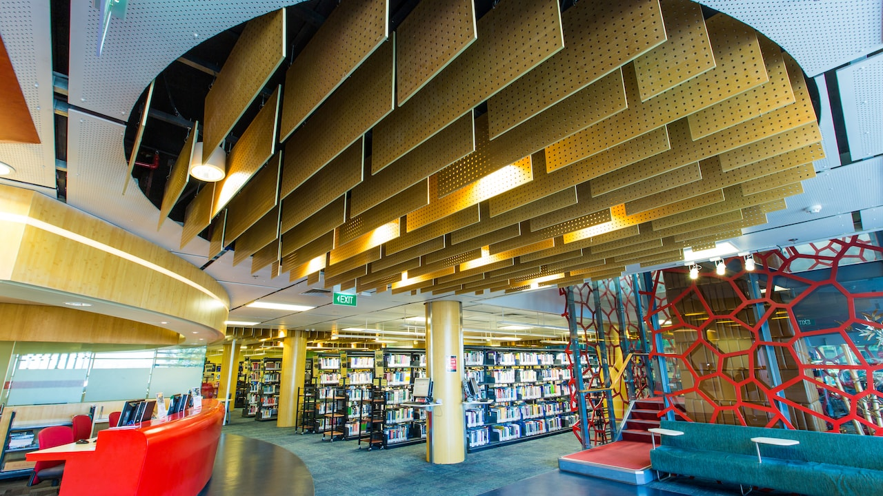 Inside the library at RMIT University Vietnam