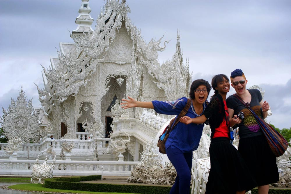 Wearing culturally appropriate clothing at the White Temple in Thailand