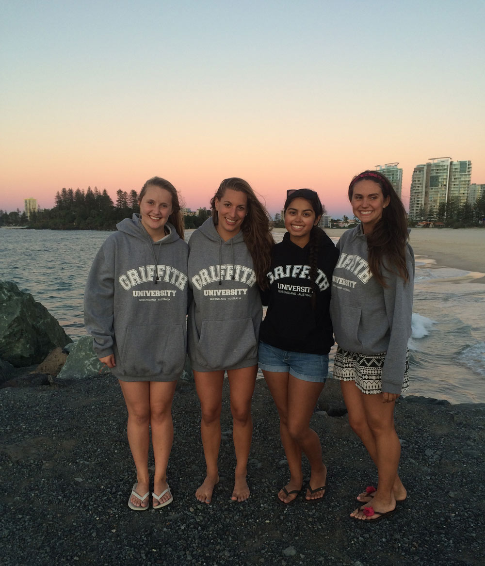 Griffith students wearing Griffith sweatshirts