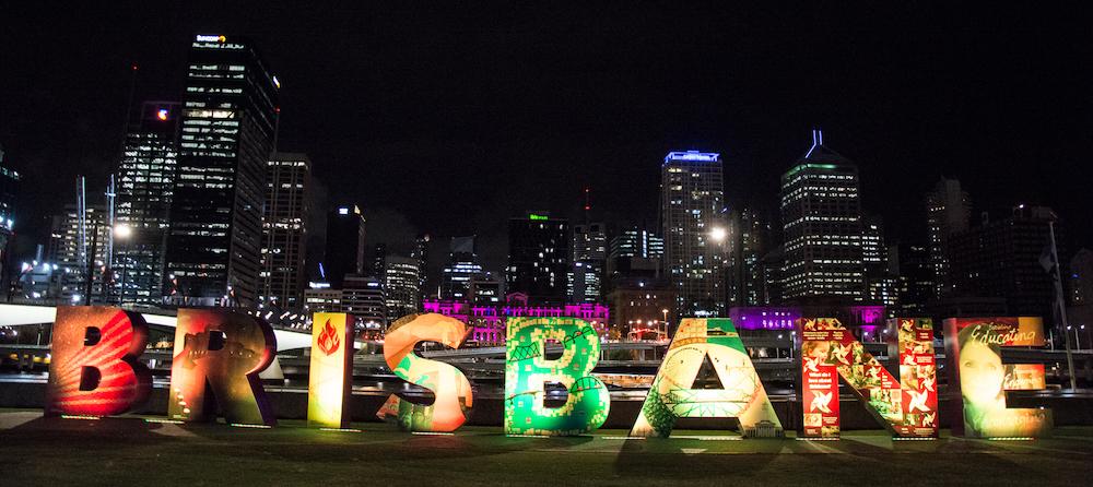 Brisbane sign on Brisbane River