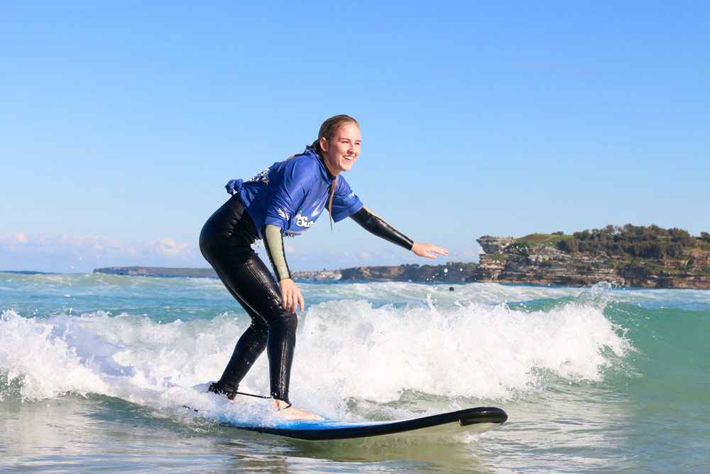 Surfing lesson at Bondi, Sydney