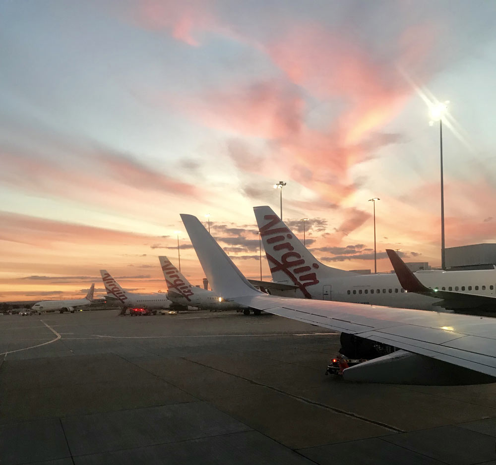 Sunrise at an airport
