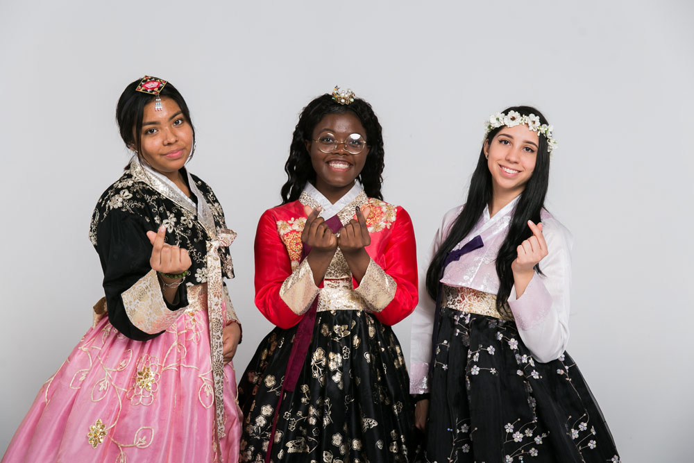 Students wearing hanbok