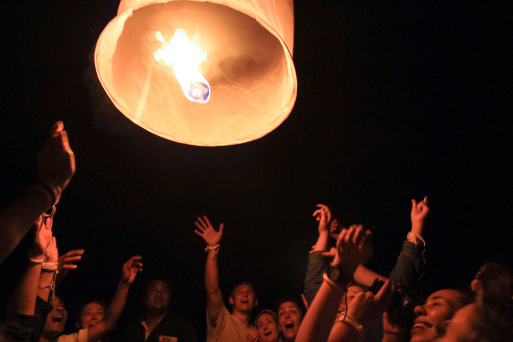 Releasing a lantern in northern Thailand